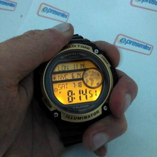 Ae-3000w 9avdf Relogio Casio Digital World Time Grande 55mm  - E-Presentes