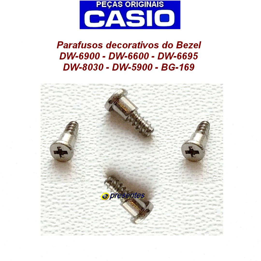4 Parafusos Bezel Casio G-shock AW-510 DW-6695 DW-6600G DW-6600F-5V DW-8030 BG-169 DW-6900 DW-5900   - E-Presentes
