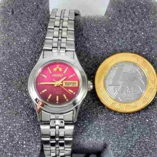 Relógio Orient Automatico Feminino Mini Rosa Fnq04005h9  - E-Presentes
