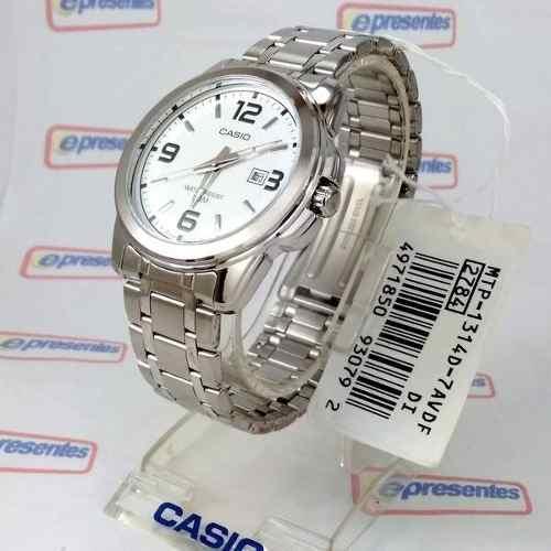 d55159afbdc Relógio Masculino Casio Analógico Aço Branco 100% Autentico - E-Presentes