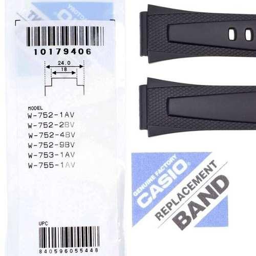 Pulseira Casio 100%original Resina Preta W-752 W-753 W-755  - E-Presentes