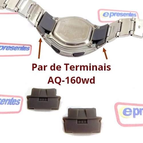 b3698437e98 Par Terminais Adaptador Pulseira Casio Metal Aq-160 Original - E-Presentes