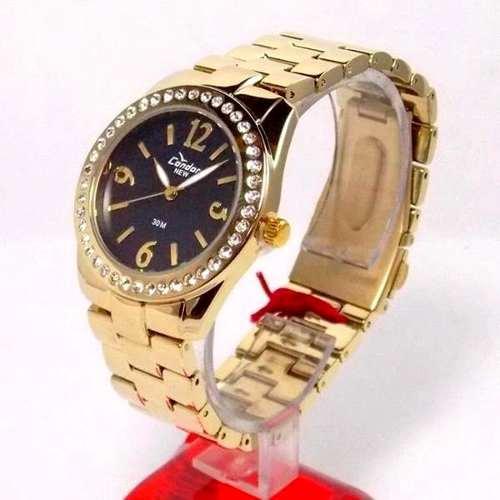 Relógio Condor Dourado Feminino Cristais Mostrador Preto  - E-Presentes