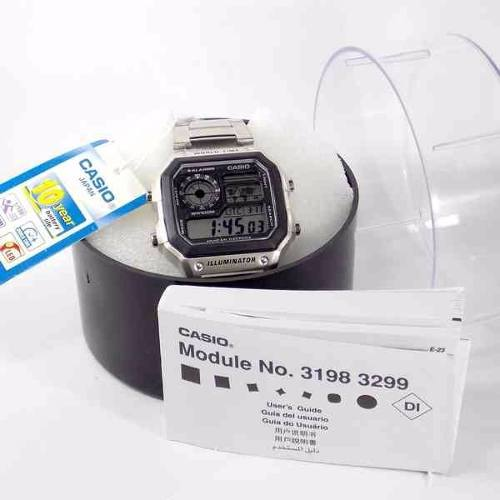 AE-1200WHD-1AVDF Relógio Casio World Time Map Wr100  - E-Presentes