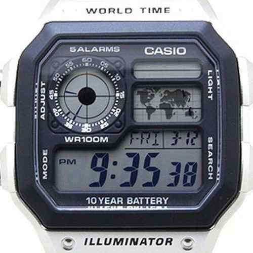 AE-1200WHD-1AVDF Relógio Casio World Time Map  Wr100 - Alexandre Venturini