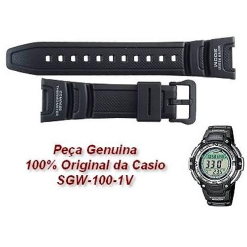 Pulseira Casio Sgw-100 Sgw-100h Resina Preta - 100% Original  - E-Presentes