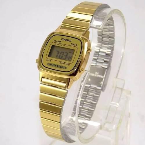 7d61f0b882d Relógio Casio Feminino Mini Dourado Retro La670wga-9df - E-Presentes