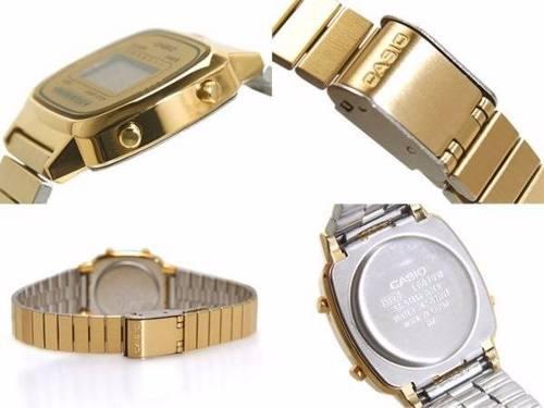 Relógio Casio Feminino Mini Dourado Retro La670wga-9df  - E-Presentes