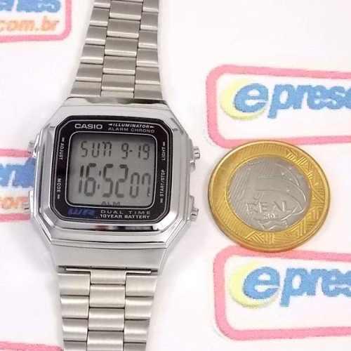 Relógio Casio Digital Vintage Retrô Prateado A178WA-1ADF  - E-Presentes
