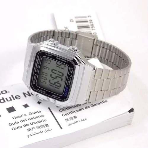Relógio Casio Digital Estilo Vintage Retrô Prateado A178wa  - E-Presentes
