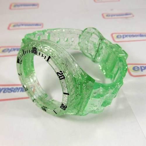Pulseira Champion Verde Transparente Glitter Pr30619b  - E-Presentes