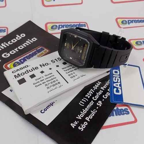 AW-48HE-1AV Relógio Masculino Casio Anadigi Preto Original  - E-Presentes