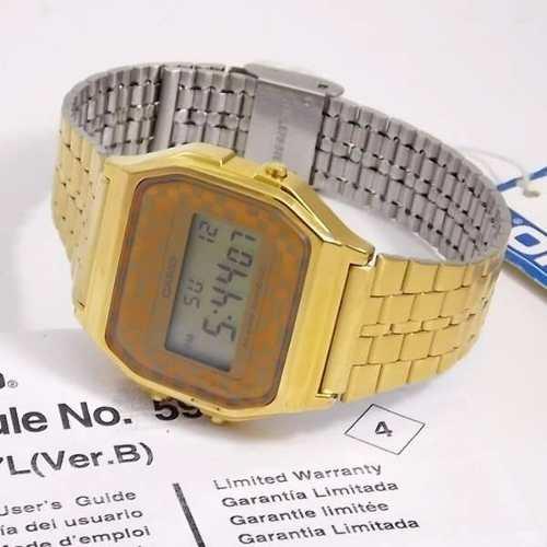0d66fe5f6b9 A159WGEA-9ADF Relógio Casio Dourado Retro Vintage - 100% Original - E- Presentes