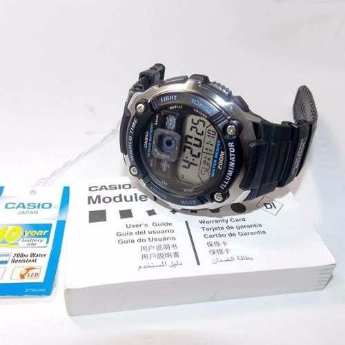 Ae-2000w 1av Relógio Casio Série Mundial Bateria 10anos 200m  - E-Presentes