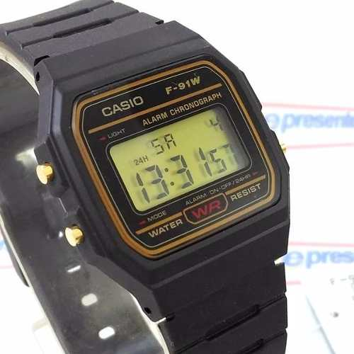 Relogio Casio Digital F-91WG-9DG Retrô Serie Ouro ORIGINAL  - E-Presentes