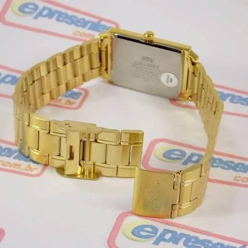 Relógio Orient Dourado Fundo Branco Quadrado FUNAX004W0  - E-Presentes