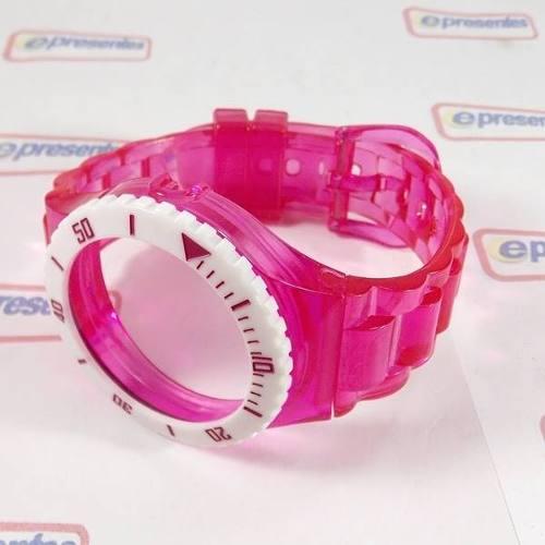 Pulseira Champion Rosa Escuro Transparente Aro Branco  - E-Presentes