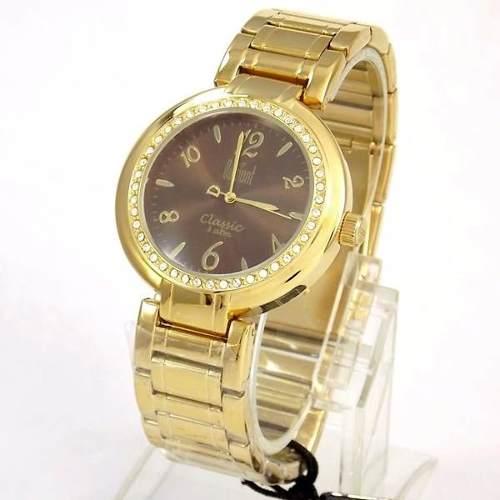 Relógio Feminino Dumont Dourado Cristais Swarovski Sw85026r  - E-Presentes