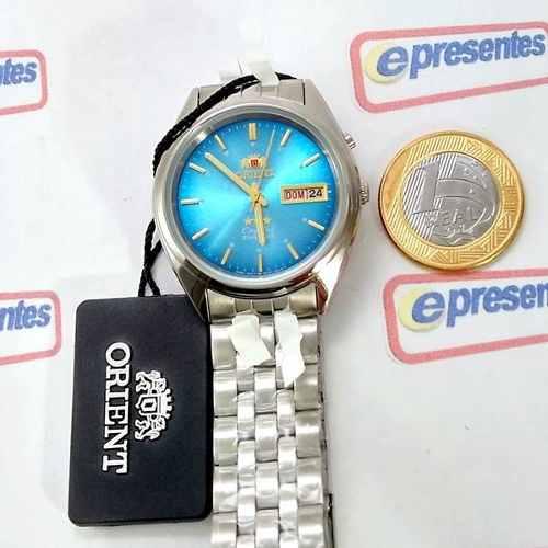 Relógio Masculino Orient Automatico Azul - Fem0401tl9  - E-Presentes