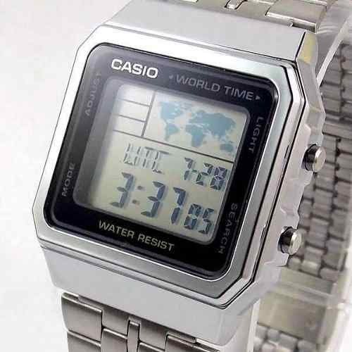 A500 Wa Relogio Casio Quadrado Prateado World Time Original  - E-Presentes
