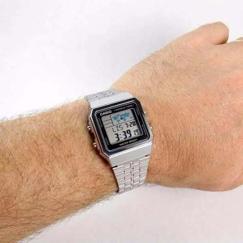 A500WA-1DF Relogio Casio Quadrado Prateado World Time 100%Original  - E-Presentes