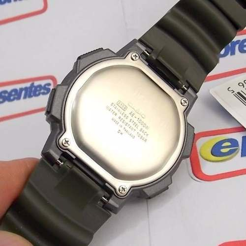 Ae-1000w Relógio Casio Verde 5alarmes Wr100 Original Novo  - E-Presentes