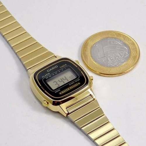 Relógio Casio Mini Dourado La670wg Retro Novo 100% Original  - E-Presentes
