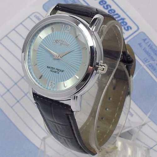 Relógio Masculino Pulseira Couro Sp8491-5 Fundo Prata Azul  - E-Presentes