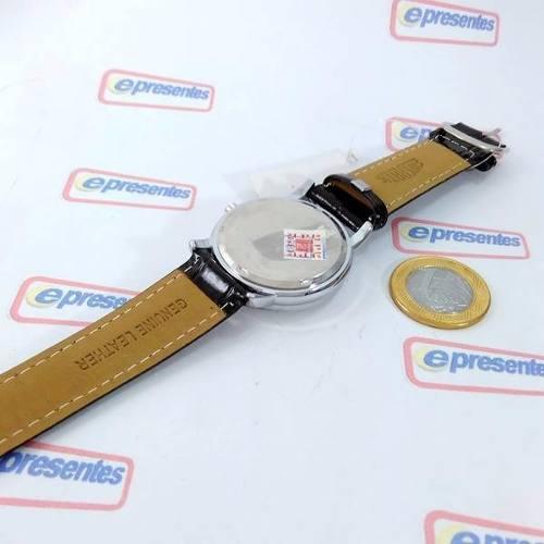 Relógio Masculino Pulseira Couro Sp8491-5 Fundo Prata Azul  - Alexandre Venturini
