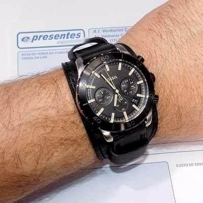 Fjr1394z Relogio Fossil Keaton Cronograph Couro Preto  - E-Presentes