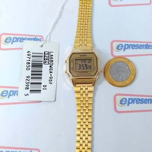 Relógio Feminino Casio Digital Dourado Vintage La680wga-9df  - E-Presentes