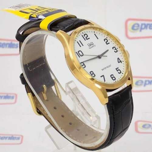 Relógio Q&Q Masculino Dourado Pulseira Couro Preto Qa06j104y  - E-Presentes