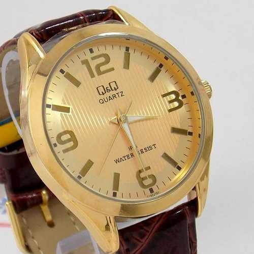 Relógio Dourado Couro Marrom C192j103y Q&Q (maq.citizen)  - E-Presentes