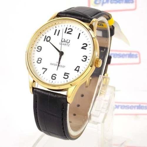 Relógio Masculino Dourado Pulseira Couro Preto C214J104Y Q&Q  - E-Presentes