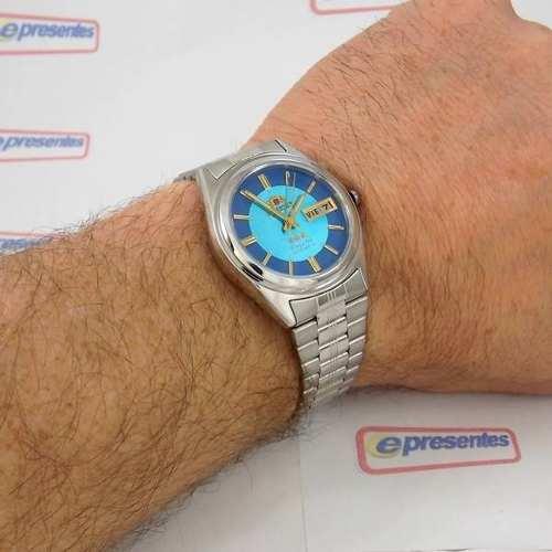 Relógio Orient Automático Azul 100% Original FEM6Q00DL9 37mm  - E-Presentes