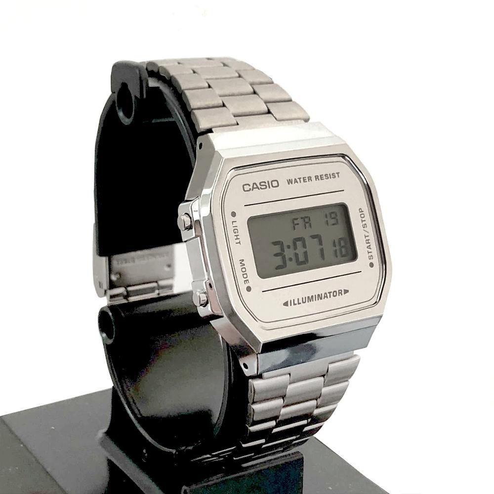 A168WEM-7DF Relógio Casio Retro Prateado espelhado 100% Original  - E-Presentes
