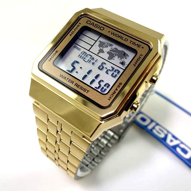 A500wga-9df Relogio Casio Digital Dourado World Time Vintage  - E-Presentes