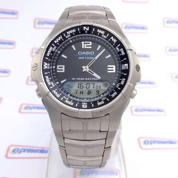 AMW-708D-1AV Relógio Casio Fishing Gráfico Pesca/lua aço inox WR100- 100% Original  - E-Presentes