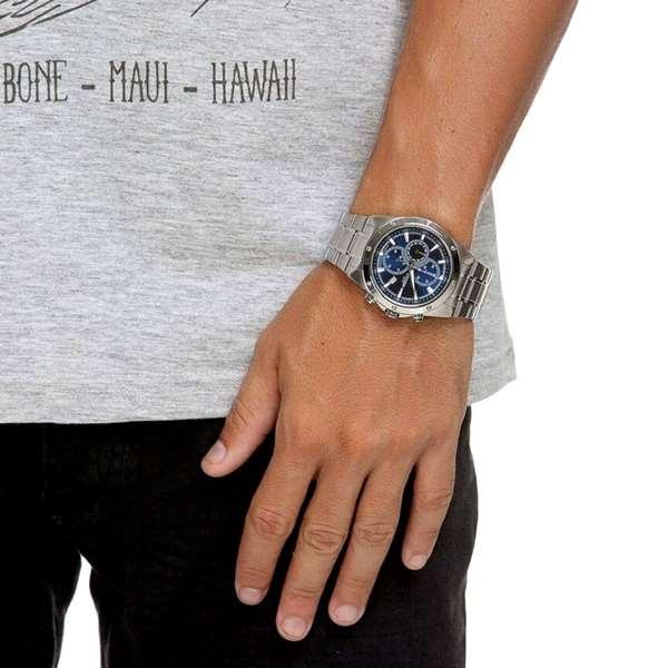 AN3530-52L Relógio Citizen Masculino Cronógrafo Fundo Azul Quartz WR100m  - E-Presentes