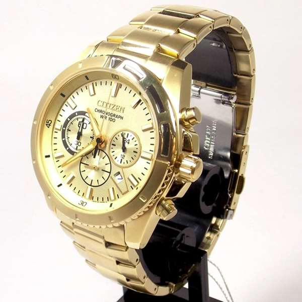 AN8012-50p Relogio Masculino Citizen Cronografo Dourado  - E-Presentes