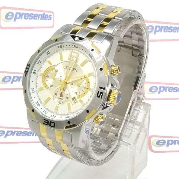 AN8104-53E Relógio Masculino Citizen WR50m Aço Misto Prateado e dourado  - E-Presentes