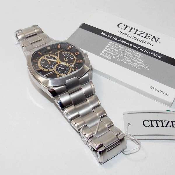 AN9000-53E Relógio Masculino Citizen Cronógrafo Pulseira Aço WR 100m  - E-Presentes