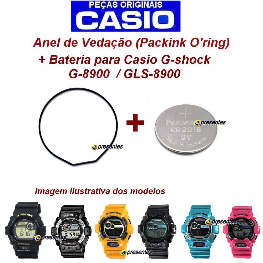 Anel de Vedação + Bateria Casio Gshock G-8900, GLS-8900   - E-Presentes