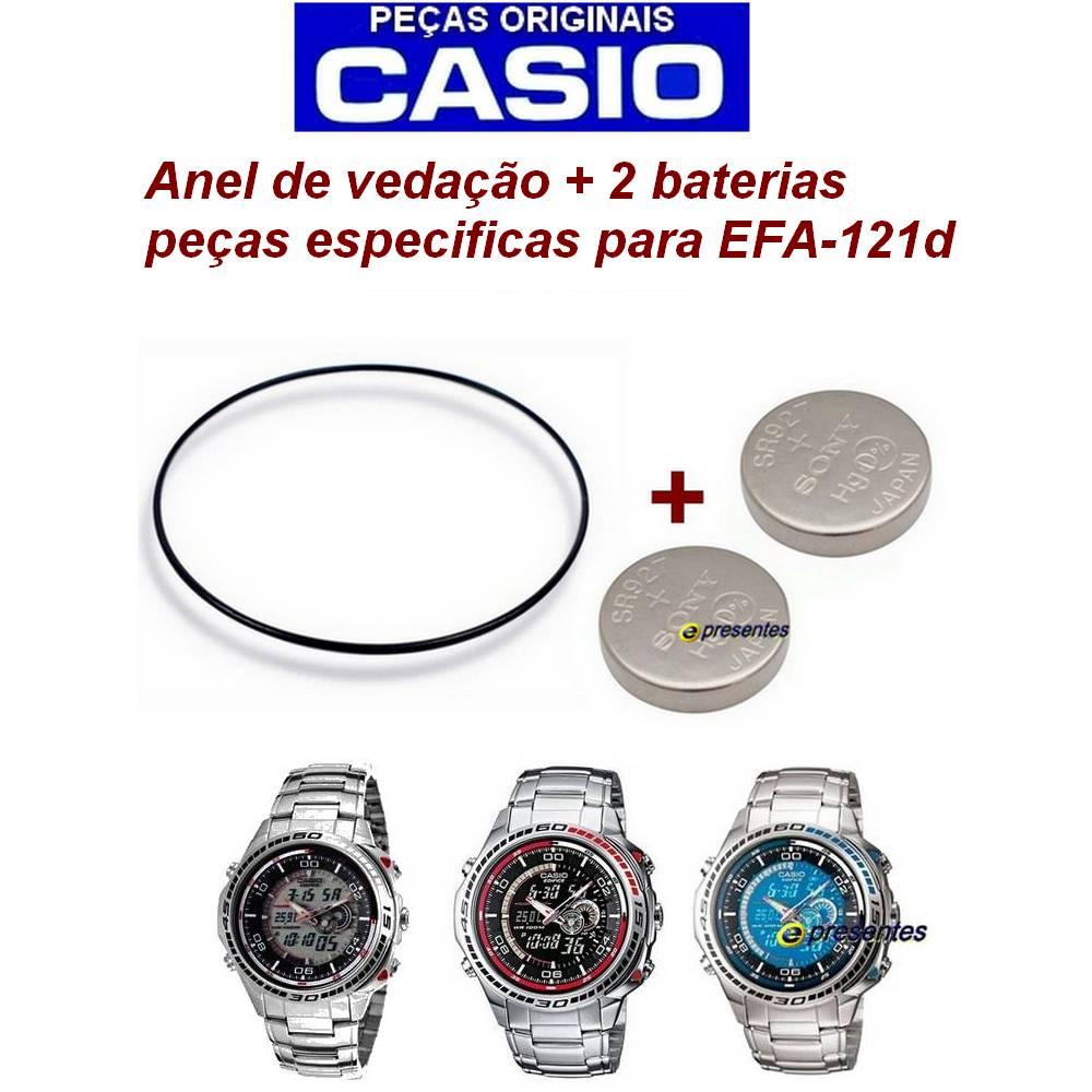 """Anel de Vedação ( O""""Ring) + 2 Baterias Casio Edifice EFA-121D  - E-Presentes"""