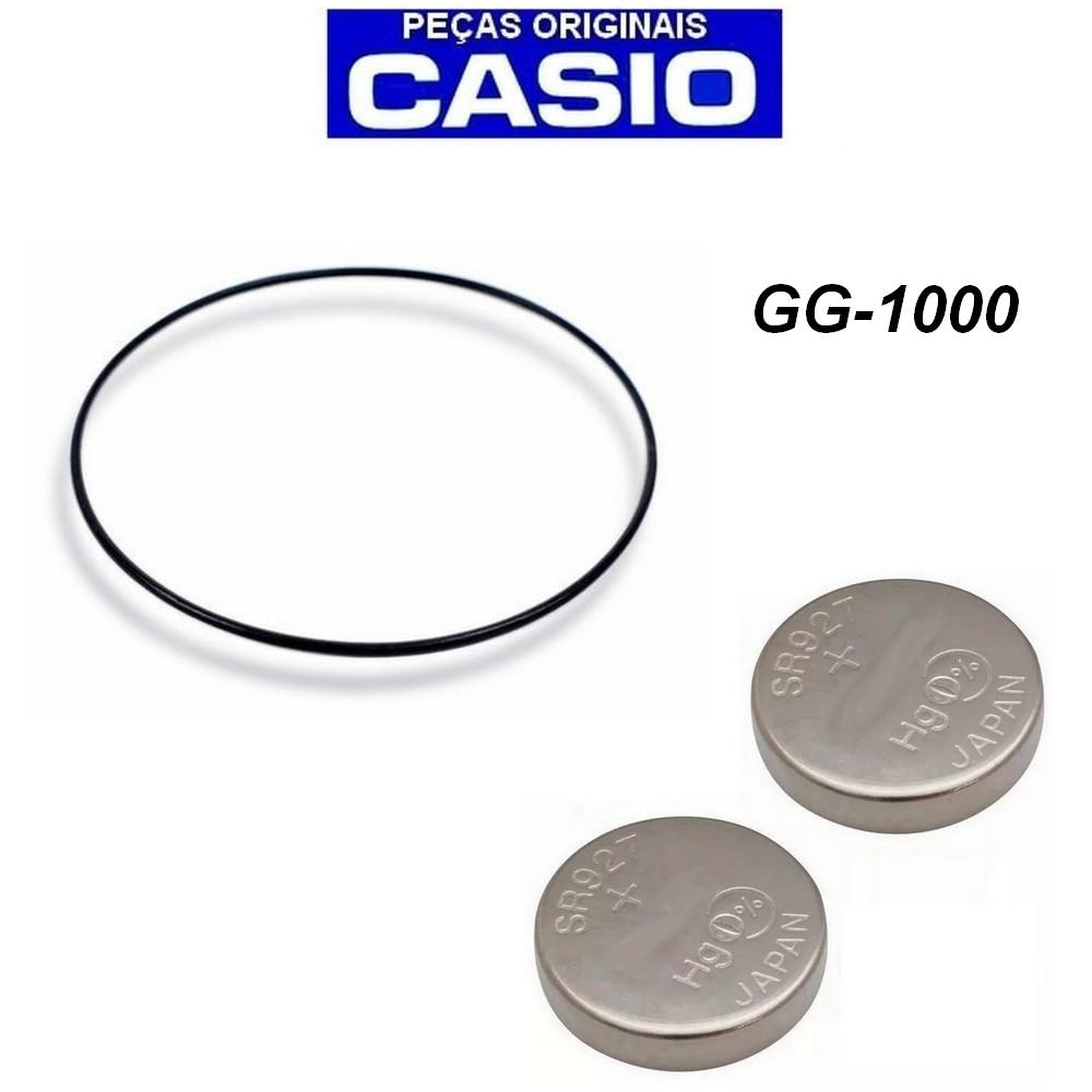 Anel de Vedação Traseira + 2 Baterias Casio G-shock GG-1000  - E-Presentes