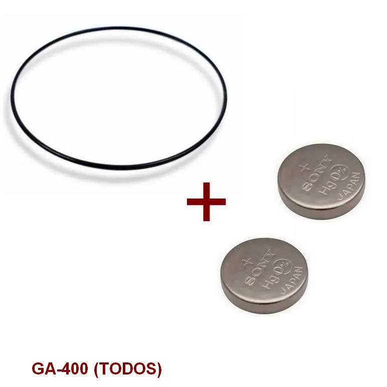 Anel de Vedação + 2 baterias P/ Casio G-Shock GA-300, GA-310, GA-400, GBA-400      - E-Presentes