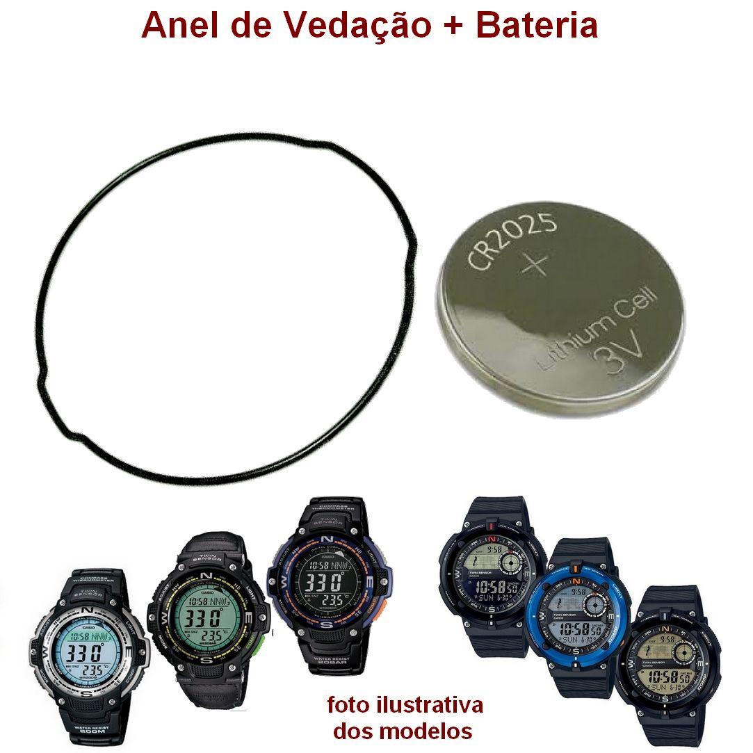 """Anel de Vedação Traseiro O""""Ring + Bateria Casio SGW-100, SGW-600H *  - E-Presentes"""