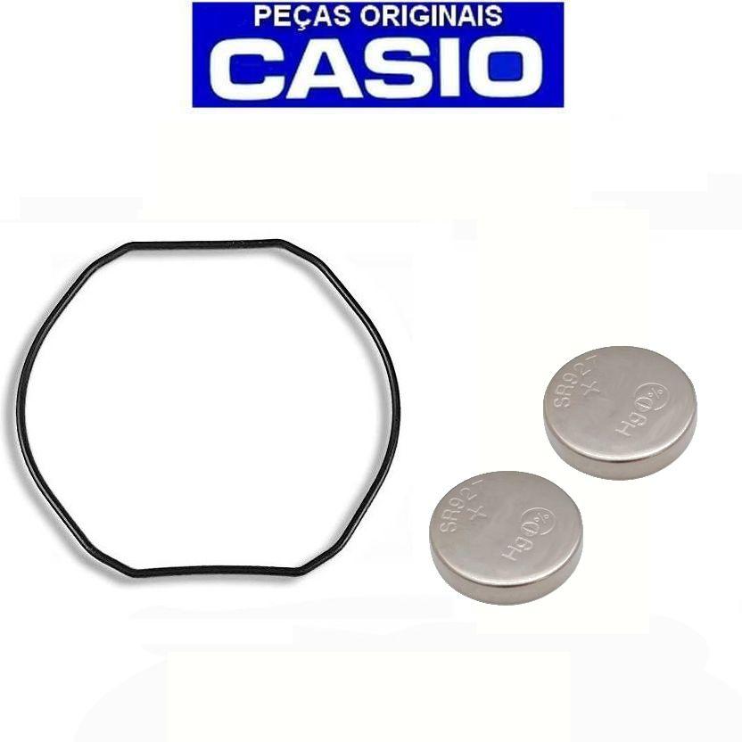 Anel Vedação + 2 Baterias Casio G-Shock G-300, G-301, G-302, G-303, G-304, G-306, G-313, G-314, G-315, G-350, G-351G-353, G-354, G-510, G-511, G-520, G-521,G-540   - E-Presentes