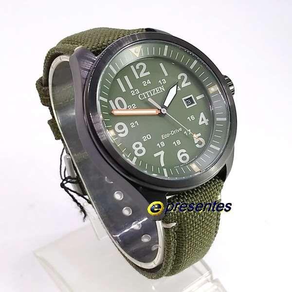 AW5005-21Y Relógio Masculino Analógico Citizen Eco-Drive Pulseira Tecido Verde  - E-Presentes