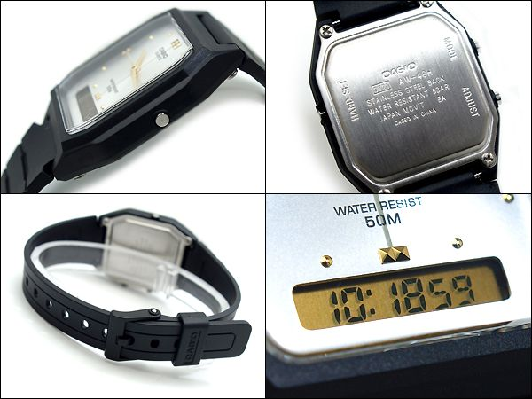 AW-48HE-7aV Relógio Masculino Casio Anadigi Fundo Branco/Prata  - E-Presentes